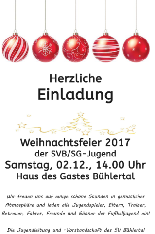 Weihnachtsfeier der SVB/SG-Jugend @ Haus des Gastes / Bühlertal